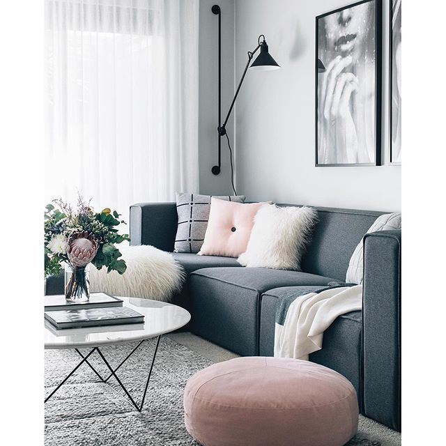 Beautiful Pink & Grey Living Room #livingroom #decor