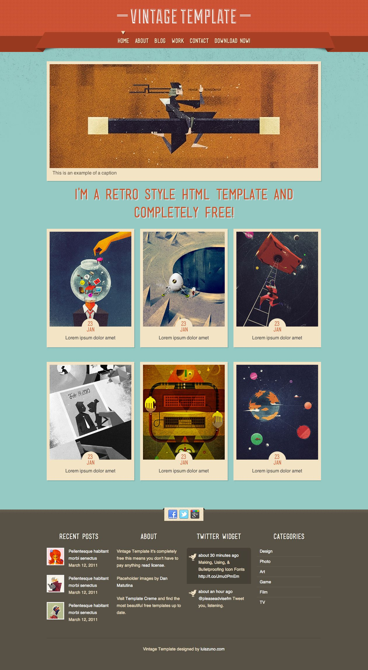 retro style portfolio showcase blog template a retro style designrex is web blog for all web and graphic designers developers and all how love all creative we share all creative stuffs that will inspire you to