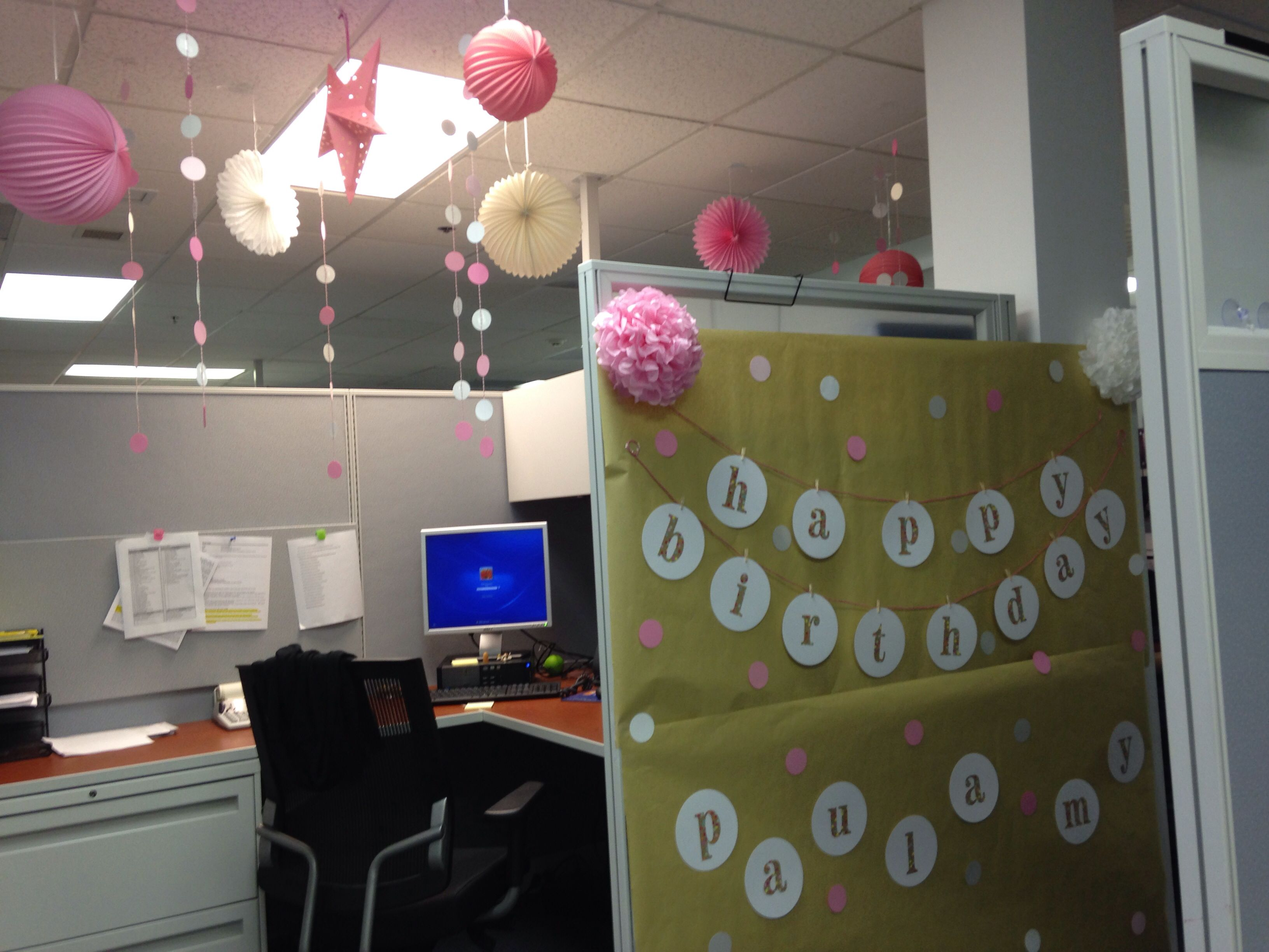 Birthday decors for work cubicle my creations Cubicle desk decorating ideas