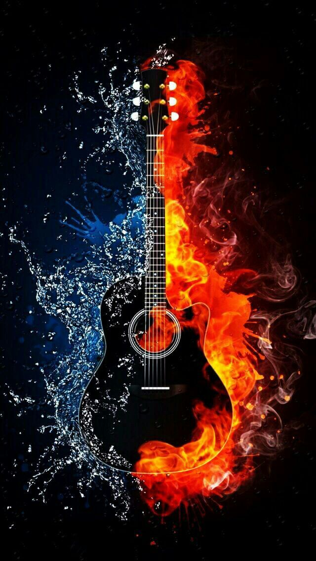 Guitar on fire | Music in 2019 | Music, Music wallpaper, Music images