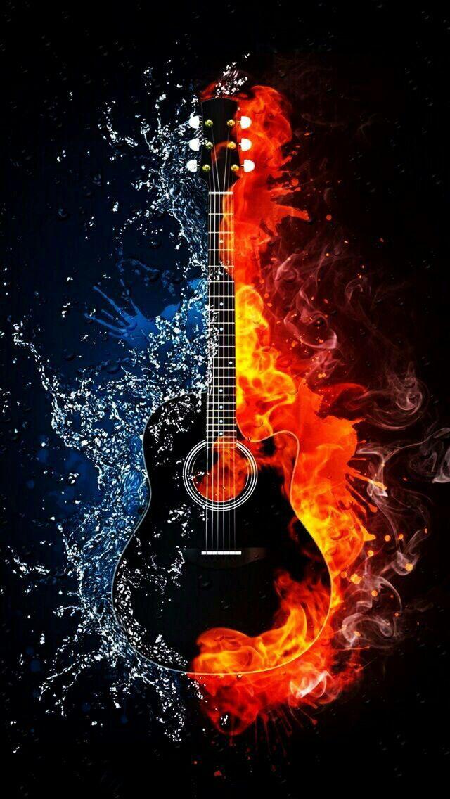 Guitar On Fire Music Wallpaper Art Music Musical Art