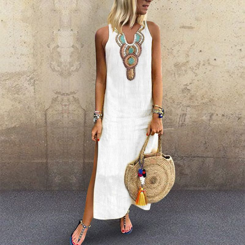 fb5bd8aabb1e Sexy Side Split V Neck Printed Sleeveless Casual Dresses in 2019 ...