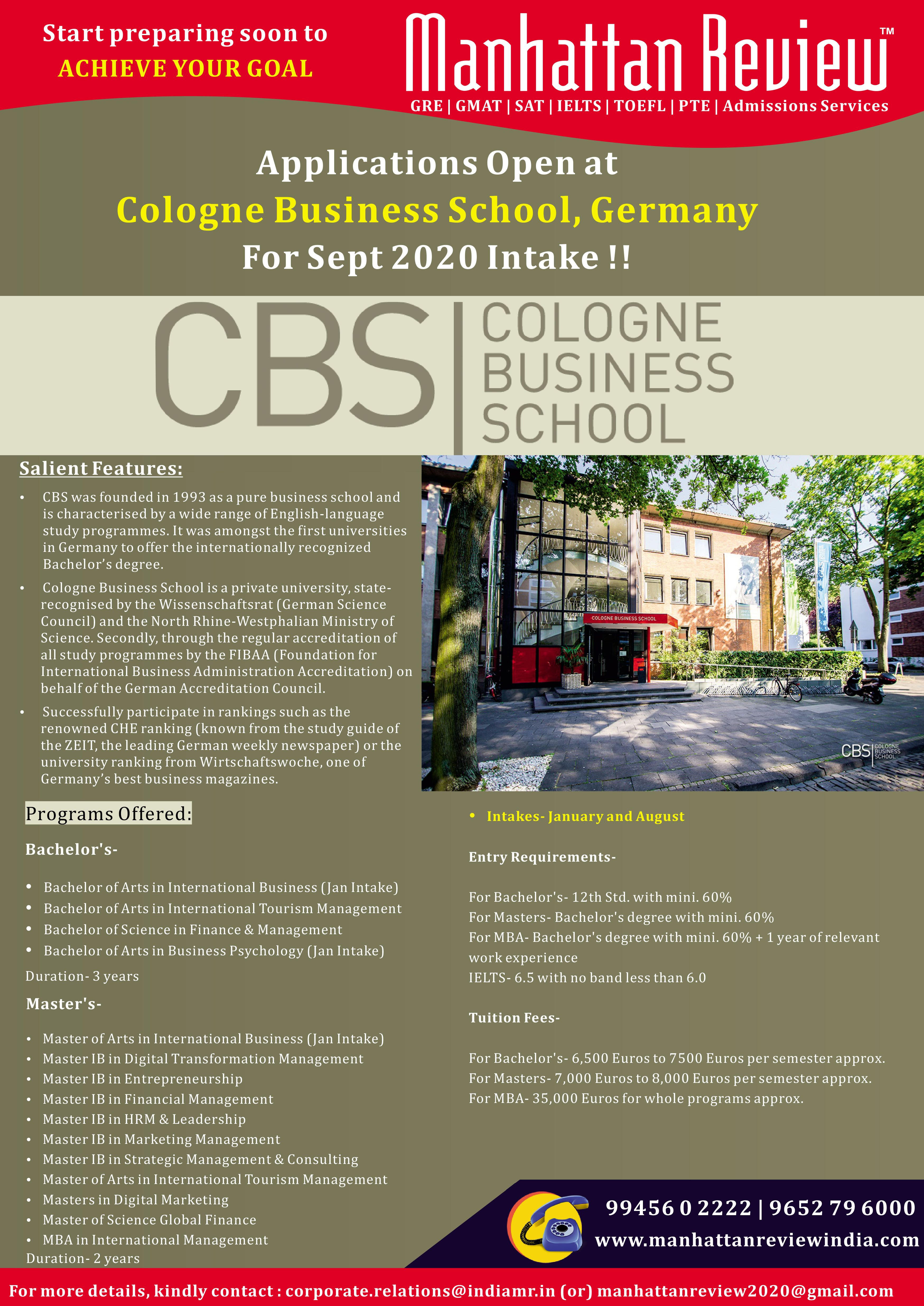 Study In Cologne Business School Germany Admissions Are Accepting For January September 2020 Intake Call Us To 9945602222 9 Business School Gmat Gmat Prep