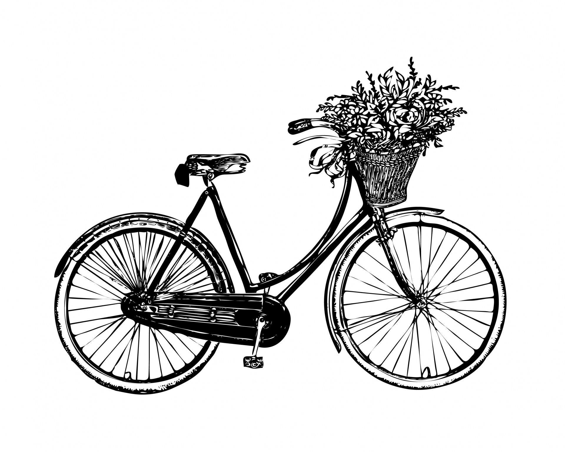 Bicycle Flowers Vintage Clipart Free Stock Photo