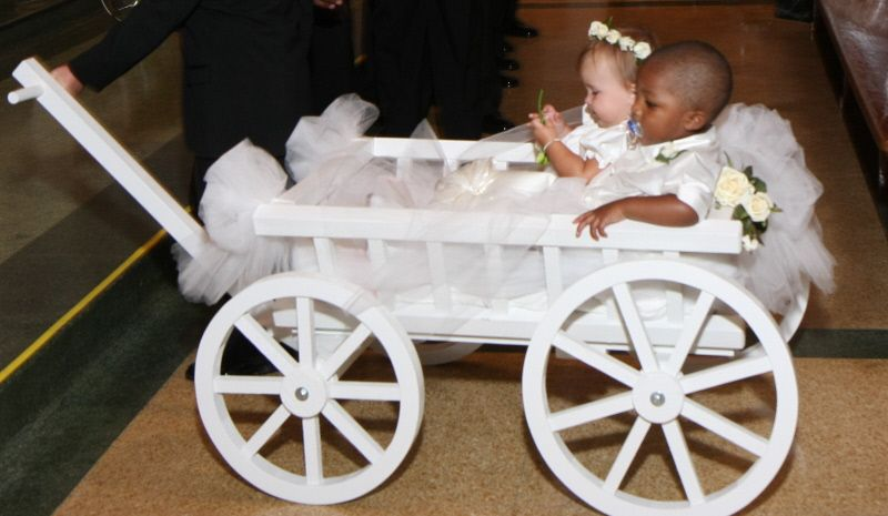 These Babies Look Heavenly In This All White Wedding Wagon