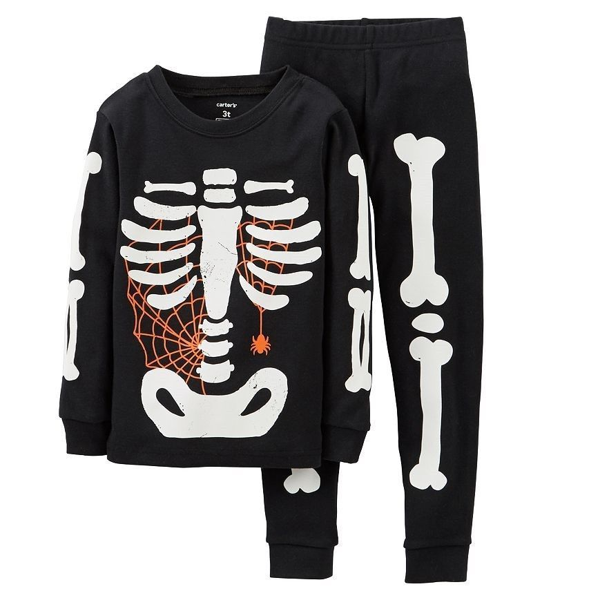 eb880acfff81 NWT~ Carter s Toddler Skeleton Glow-in-the-Dark Pajama Set