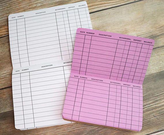 Checkbook Register TravelerS Notebook Insert  Choice Of