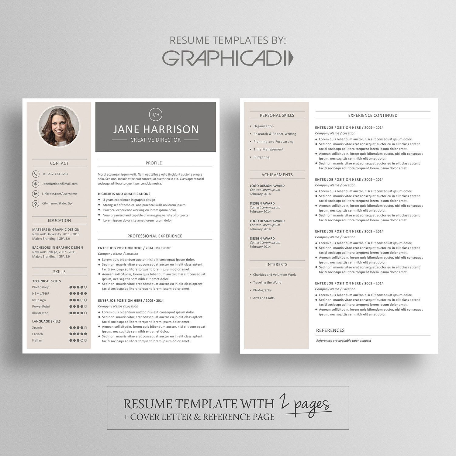 Modern Resume Template 2 Pages Cover Letter Reference Page