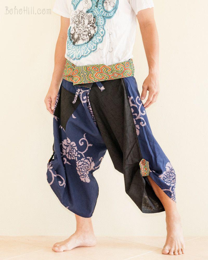 Size M/L Unique Wrap Around Samurai Harem Pants (Blue Flowers Weaving)
