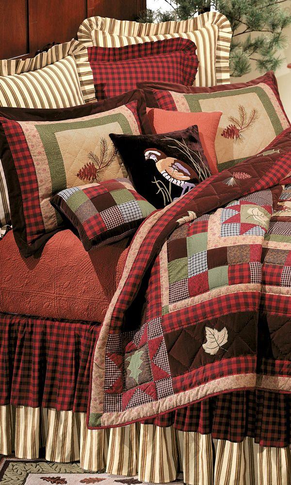 bedding set cabin home me quilts application log quilt esraloves design sets bed cabins