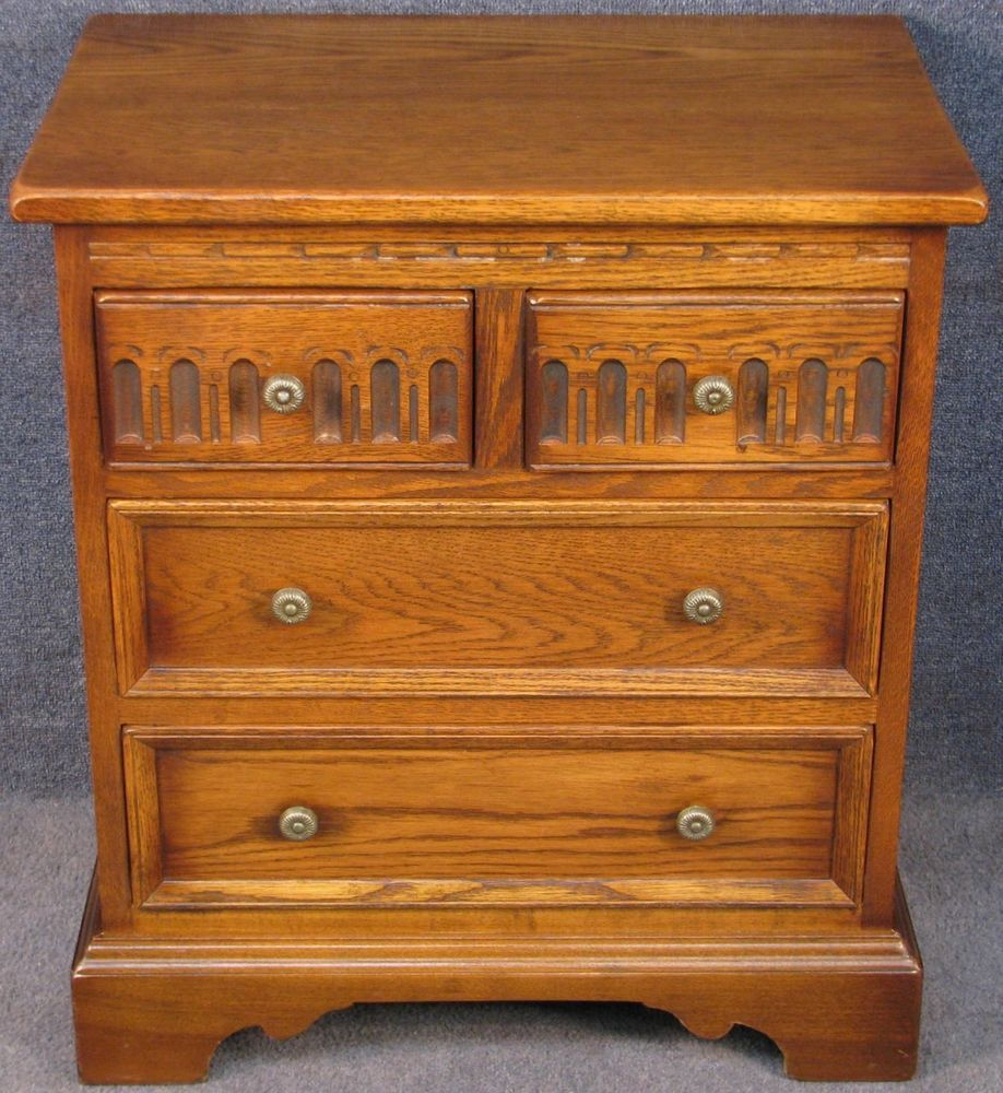 Best Old Charm Small Carved Oak 4 Drawer Bedside Chest No 1 400 x 300