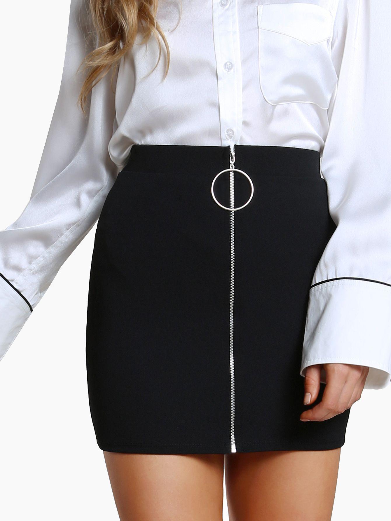 Shop O Ring Zipper Front Skirt BLACK online. SheIn offers O Ring Zipper  Front Skirt BLACK   more to fit your fashionable needs. 47c5d966d912