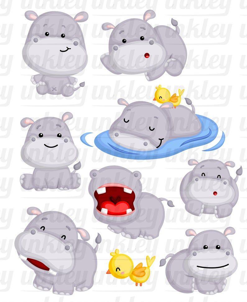 Cute Hippo Clipart Cute Animal Clip Art Wild Animal Free Etsy Cute Animal Clipart Cute Hippo Animal Clipart