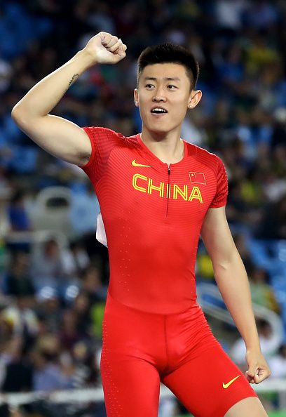Changrui Xue of China reacts in the Men's Pole Vault Qualifying Round on Day 8…