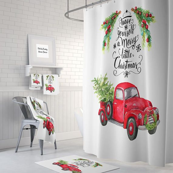 Christmas Red Truck With Tree Shower Curtain Bath Mat Towels