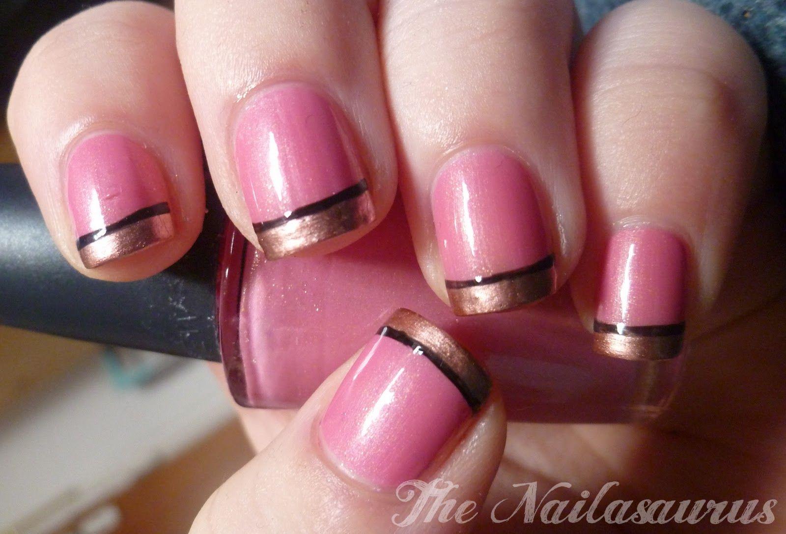 Pink with gold and black tips fingernails pinterest