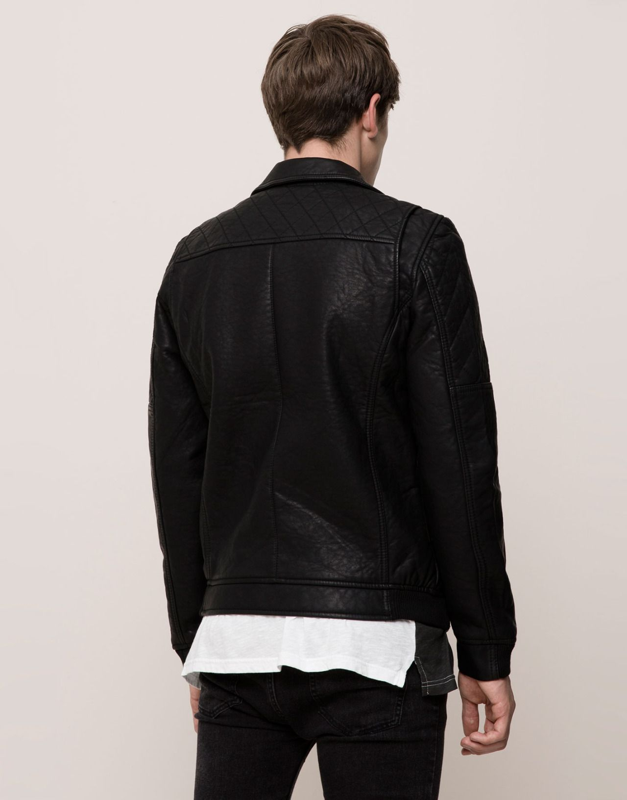 Connor Askin Pull&Bear Washed Effect Faux Leather Jacket