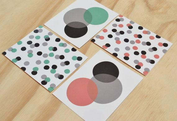 Best Set Of 4 Postcards Dots And Circles In Grey Black Mint 640 x 480