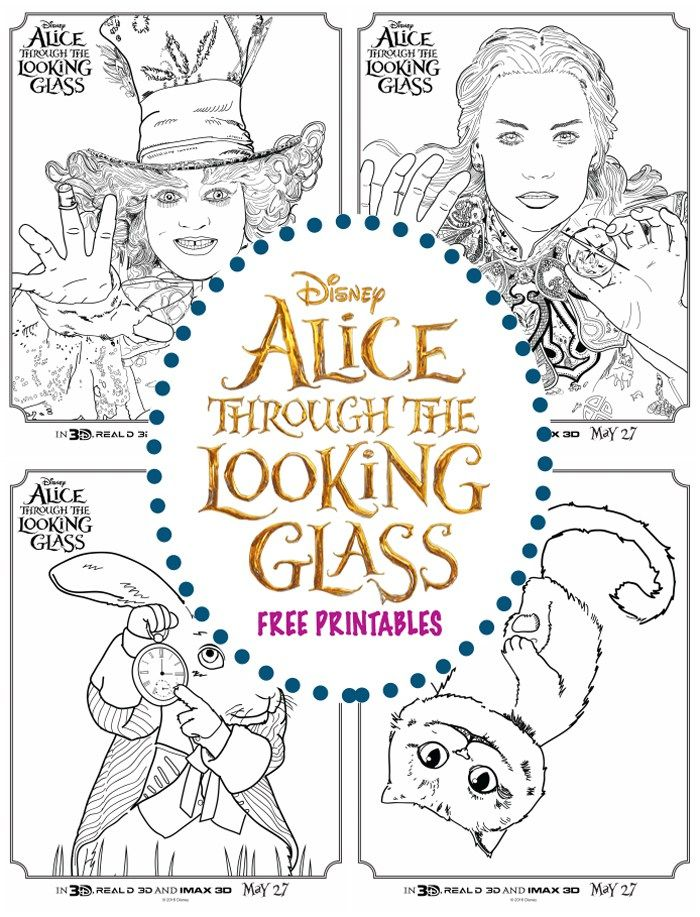 Alice Through The Looking Glass Coloring Sheets April Golightly Alice In Wonderland Alice In Wonderland Crafts Disney Coloring Pages