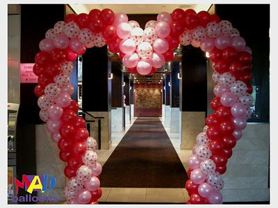 Love Heart Shaped Balloon Arch Valentines Day Wedding Idea The