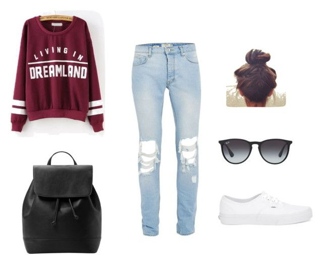 """School"" by vannarose24 on Polyvore featuring MANGO, Vans and Ray-Ban"