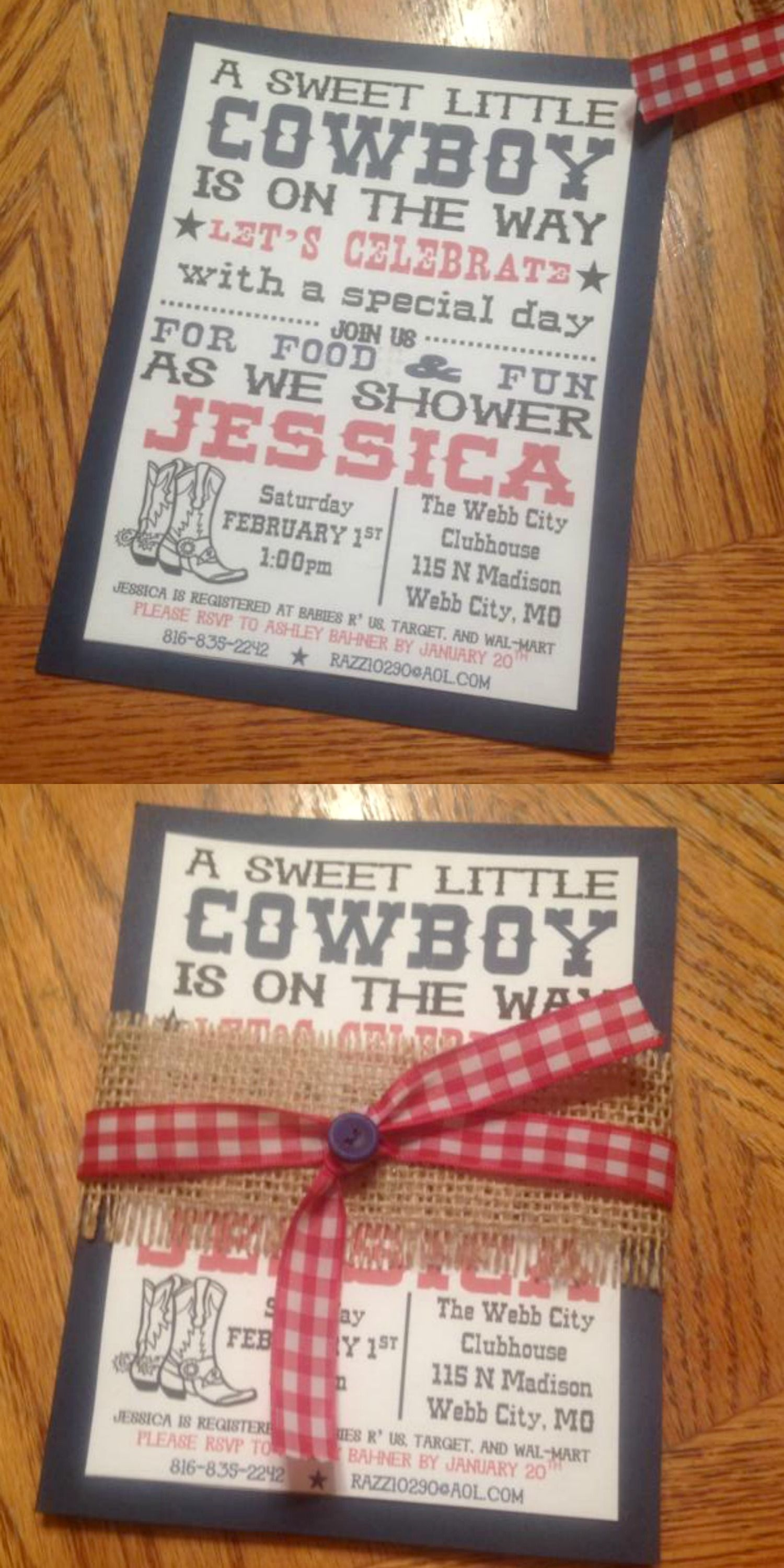Baby shower invitation. Western theme party invite. | Random ...