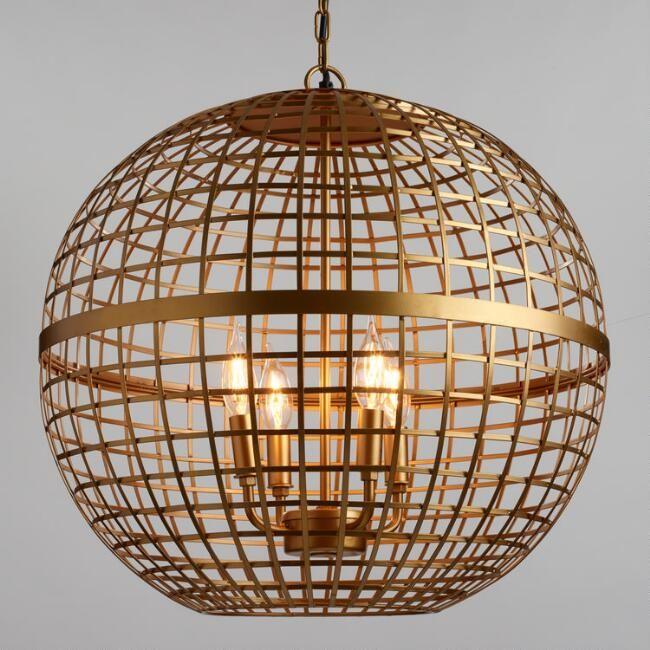 Gold Orb 4 Light Stella Chandelier Gold Light Fixture Light