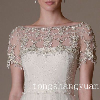 Luxury Wedding Jackets Rhinestones Crystal Shiny Beading Bridal
