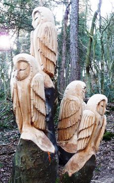 Steve Iredale Owl sculptures in Errington Wood Eagle Owl and a Grizzly Bear