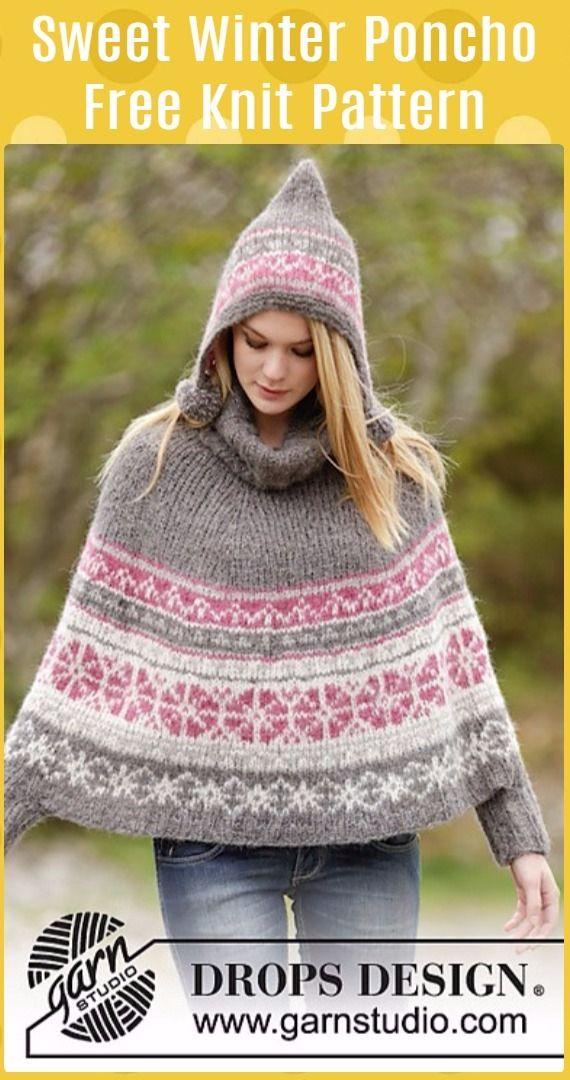 Knit Sweet Winter Poncho Free Pattern - Knit Women Capes & Poncho ...