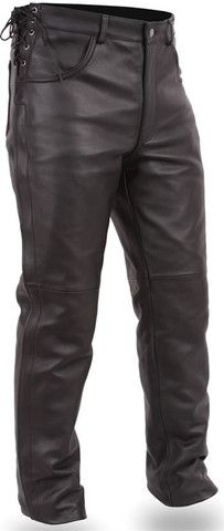 e93b634bb012 Men s Black Deep Pocket Leather Motorcycle Pants with Side Laces ...