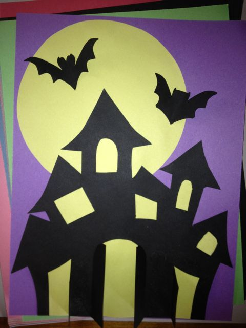 Haunted House Collage Craft For Kids Halloween Art Projects