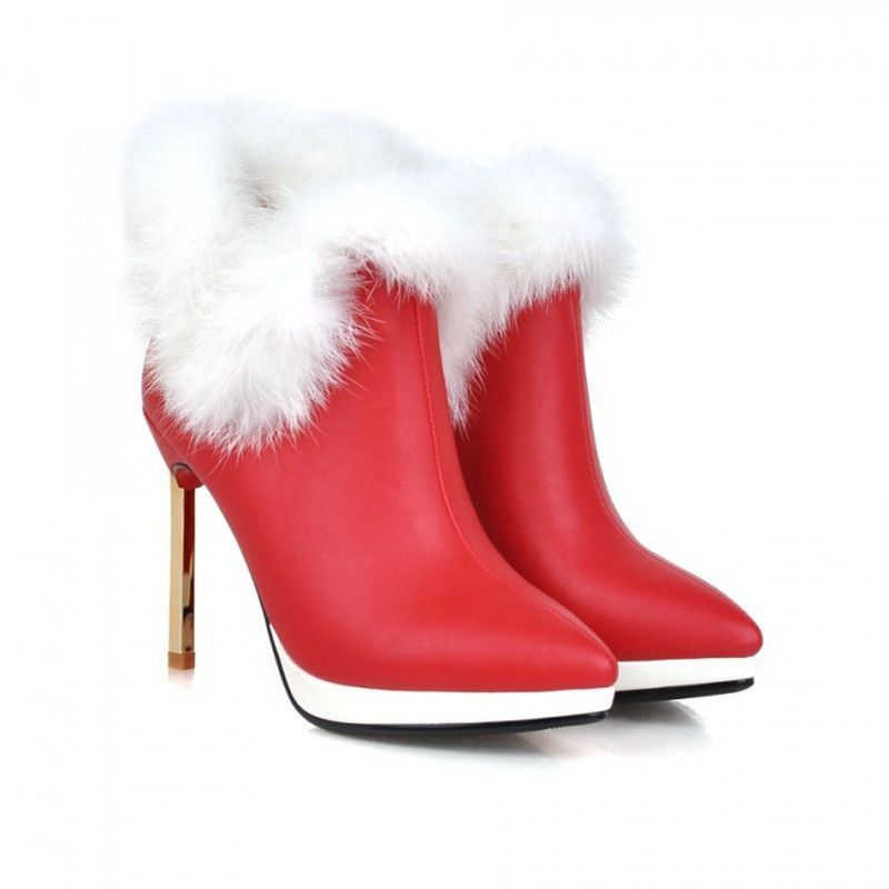 Sexy Women Fur Boots Gold Thin Heels Winter Shoes Pumps Pointed Toe Soft Leather Ankle Boots High Quality Rubber Red Bottom Shoe