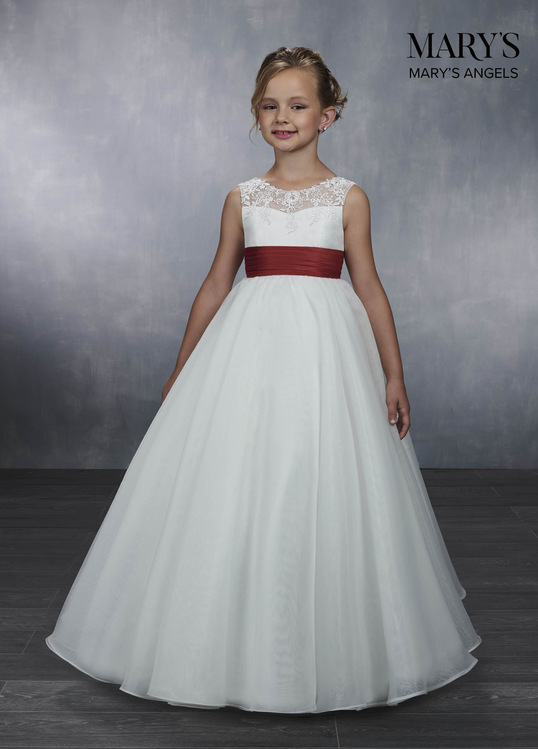 Floor length flowergirl ball gown features tulle and lace