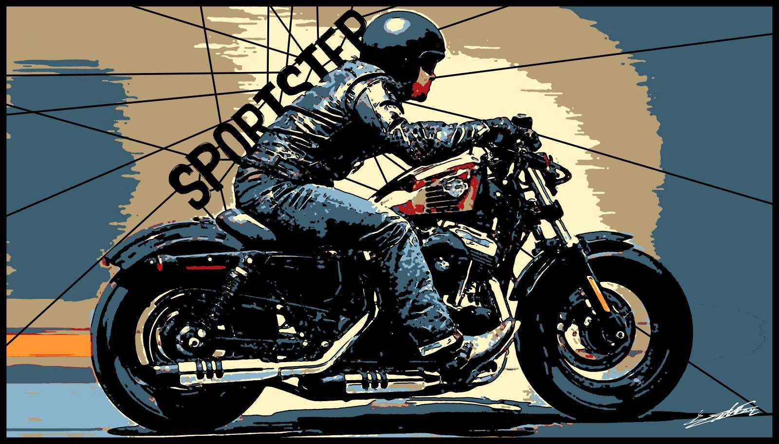 tableau harley moto biker peinture moderne pop art. Black Bedroom Furniture Sets. Home Design Ideas