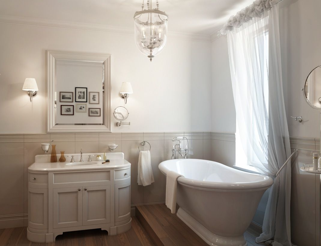 Beautiful traditional bathrooms - White Traditional Bathroom Roll Top Bath