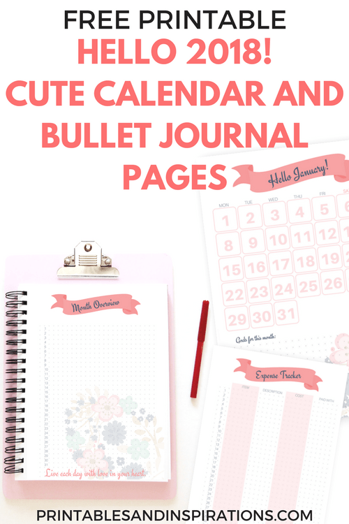 Beau Hello 2018 Cute Calendar And Bullet Journal Printable Planner Pages