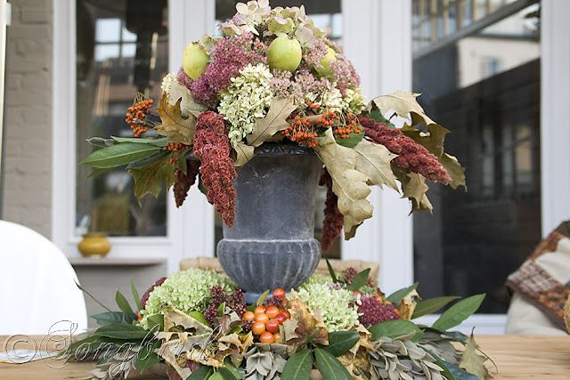Beautiful natural centrepiece as Fall decoration on outdoor table via Songbird