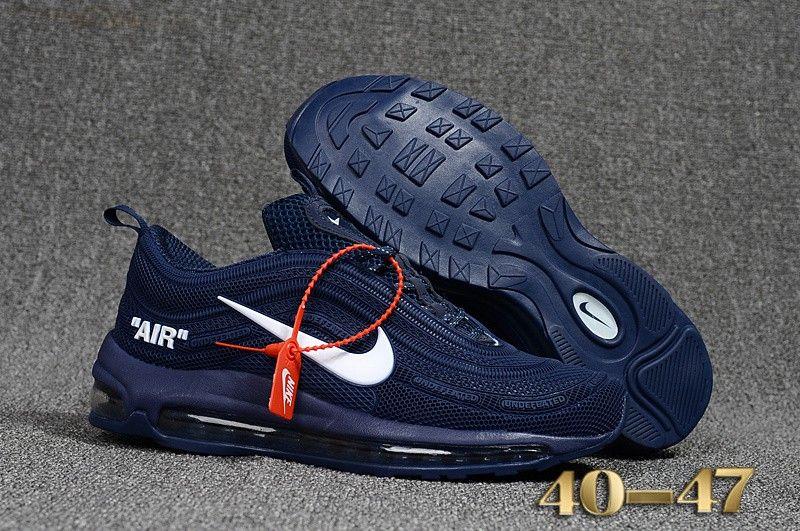 2019 的 Mens Nike Air Max 97 Off White X Shoes Deep Blue
