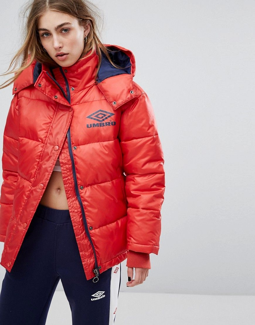 Abrigo en acolchado rojo Umbro brillo de vinilo alto OrfOwxSq