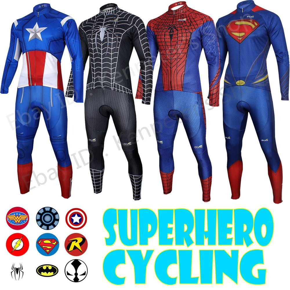 Superman Spiderman Superhero Long Sleeve Bike Cycling Jersey Pants