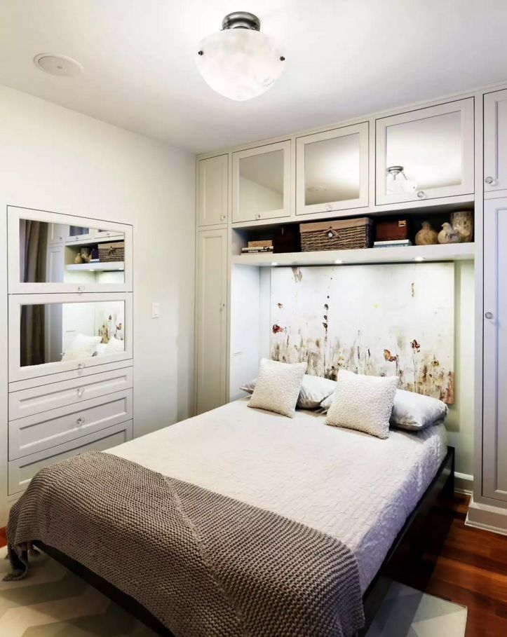 Small Bedroom Decoration Trends Photo Functional E With Painted Headboard Of The Double Bed