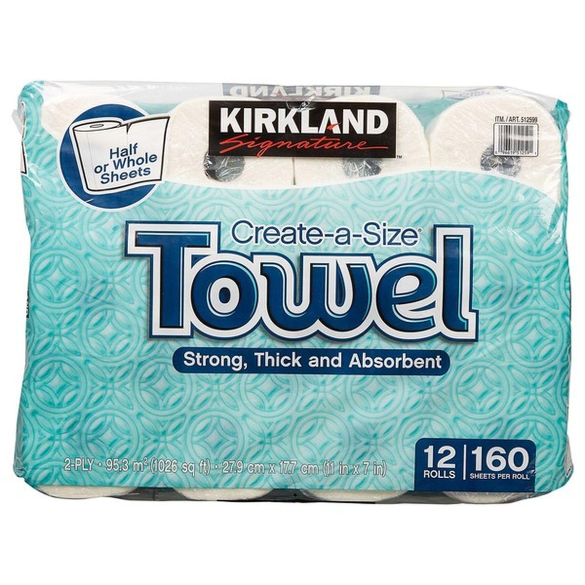Kirkland Signature Create-A-Size Towels, 160 Sheets | Storm Supplies ...