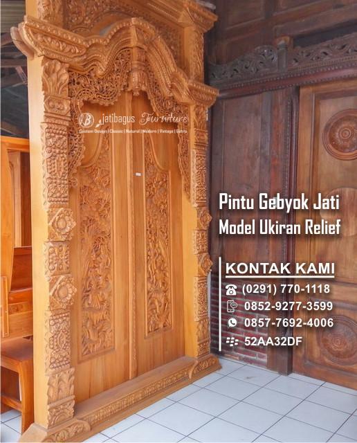 Door Gebyok Carved Relief Teak Wood Original from Jepara