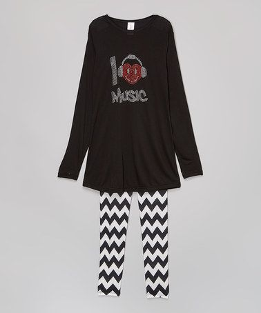 Another great find on #zulily! Black & White 'I Heart Music' Tunic & Leggings - Girls #zulilyfinds