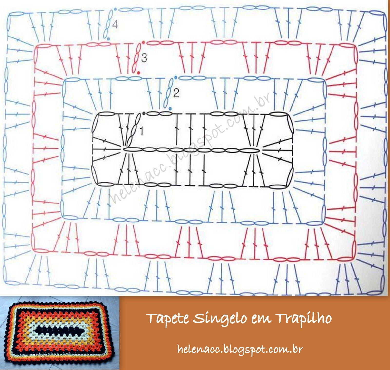 PATRO RECTANGULAR   trapillo   Pinterest   Trapillo, Ganchillo y Tapetes