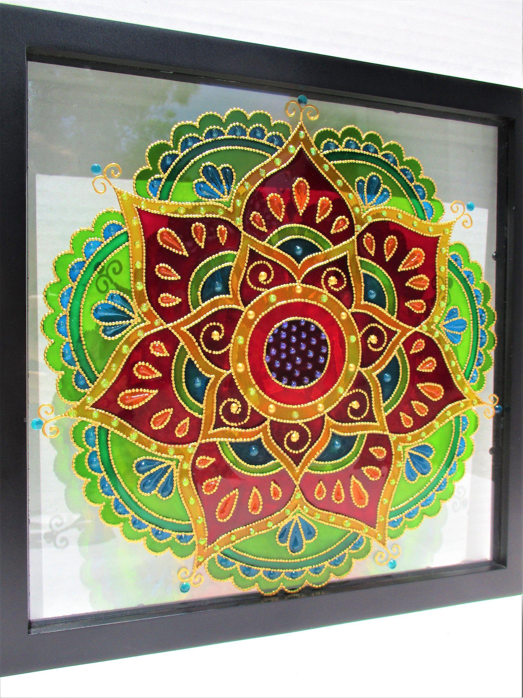 Mandala Art 13x13 Glass Painting Bohemian Decor Glass Art Suncatcher Stained Glass Wall Decor Window Decor Spiritual Framed Art Modern Art Glass Painting Patterns Glass Painting Stained Glass Diy