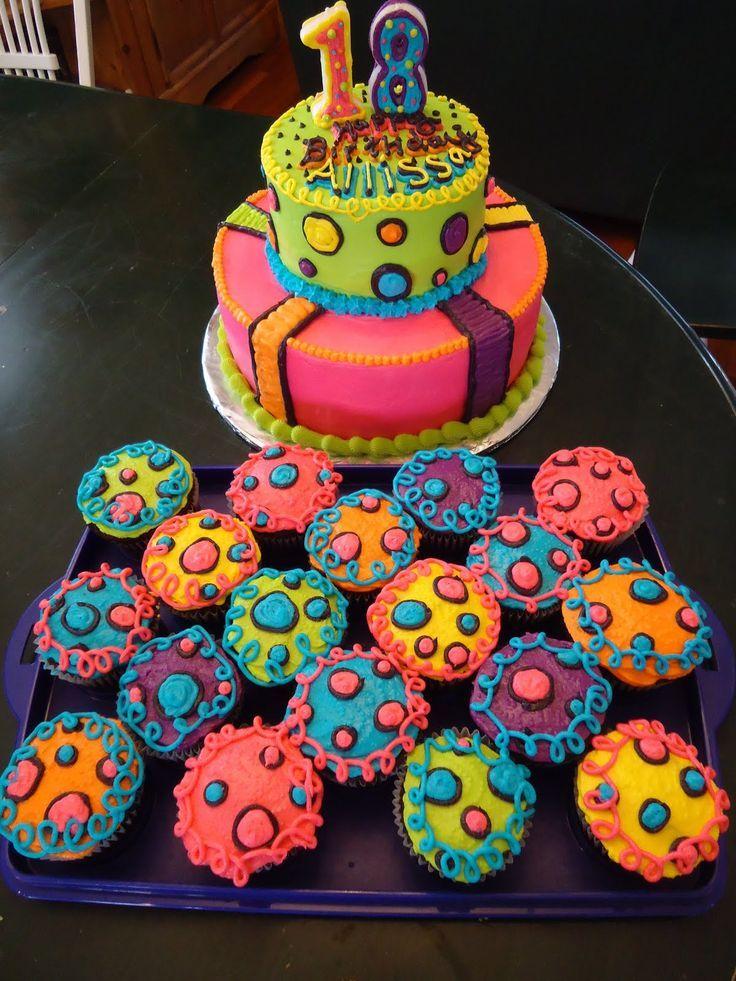 neon cakes for teen girls Pin Neon Doodle Groovy Rocker Girl Party