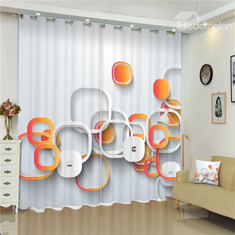 3d Irregular Circles Printed Thick Polyester Creative And Modern Style Living Room Curtain Curtains Living Room Modern Style Living Room Curtains #thick #living #room #curtains