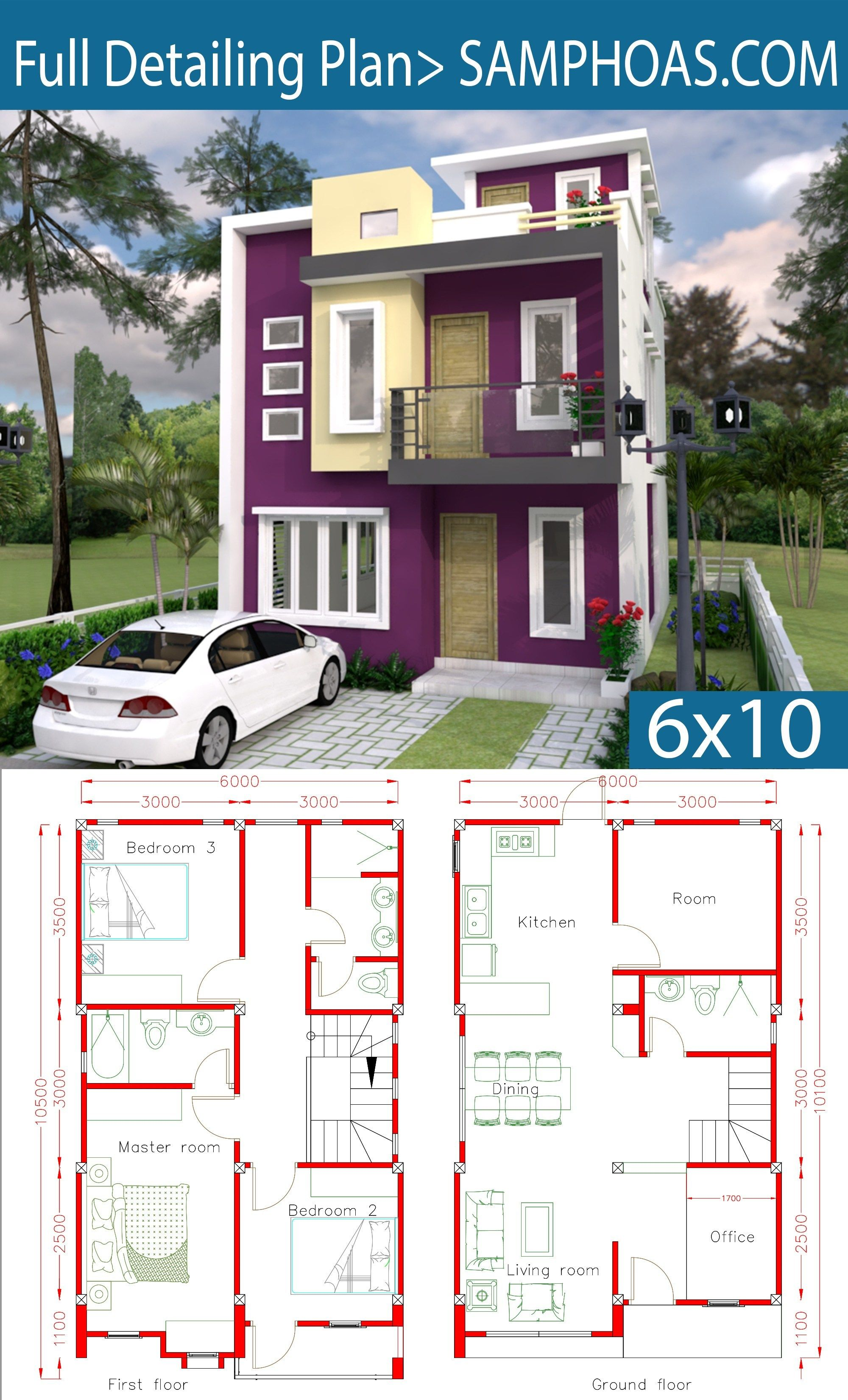Sketchup Home Design Plan 6x10m With 4 Rooms Home Design Plan